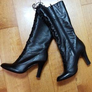 Boots Gianni Bini Black 8 1/2 Grannie Leather